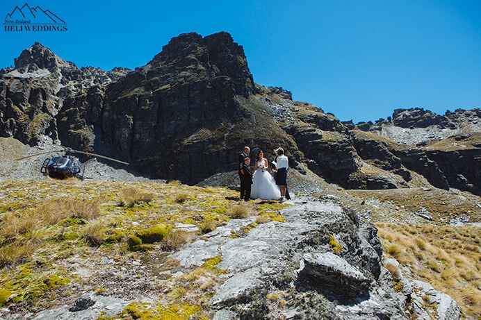 Heli Wedding Ceremony, Queenstown Wedding, Cecil Peak Wedding photography