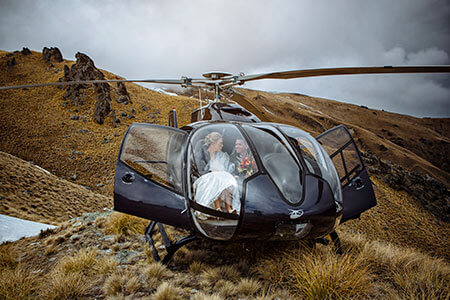 Helicopter for wedding in Queenstown