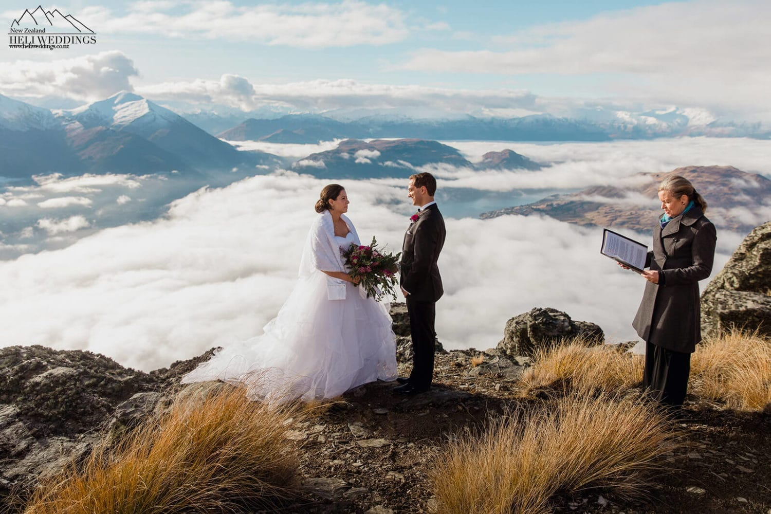 Wedding ceremony on Cecil Peak Ridge in Queenstown