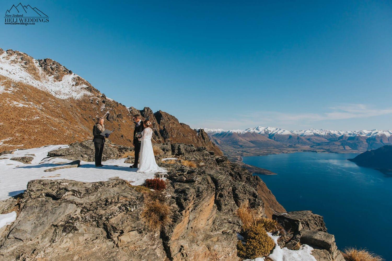 Mountain wedding ceremony in the snow, Queenstown Wedding