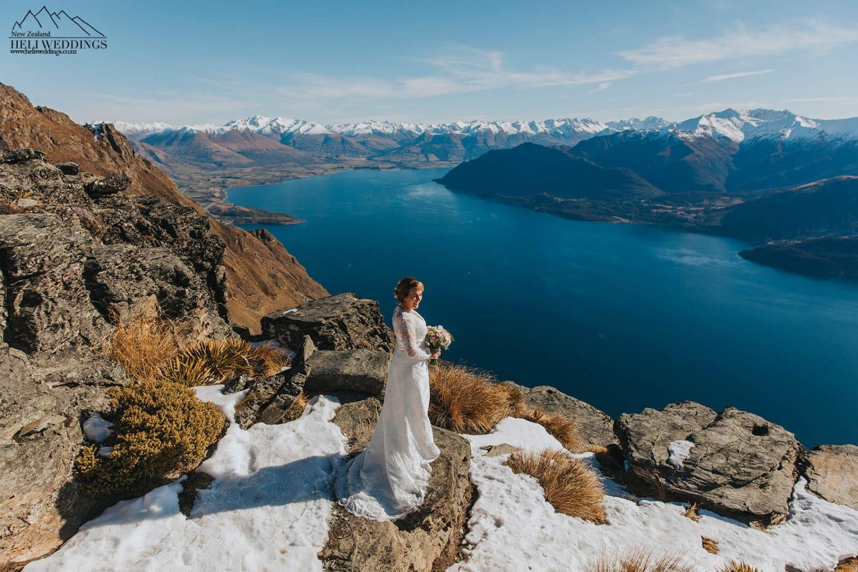 NZ Winter Wedding,Bride on her wedding day in Queenstown