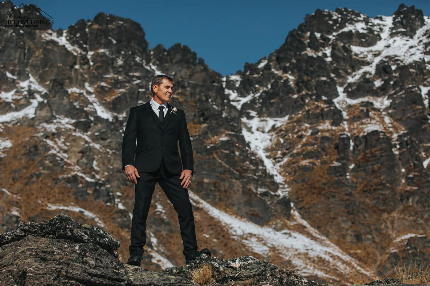Groom in the mountains