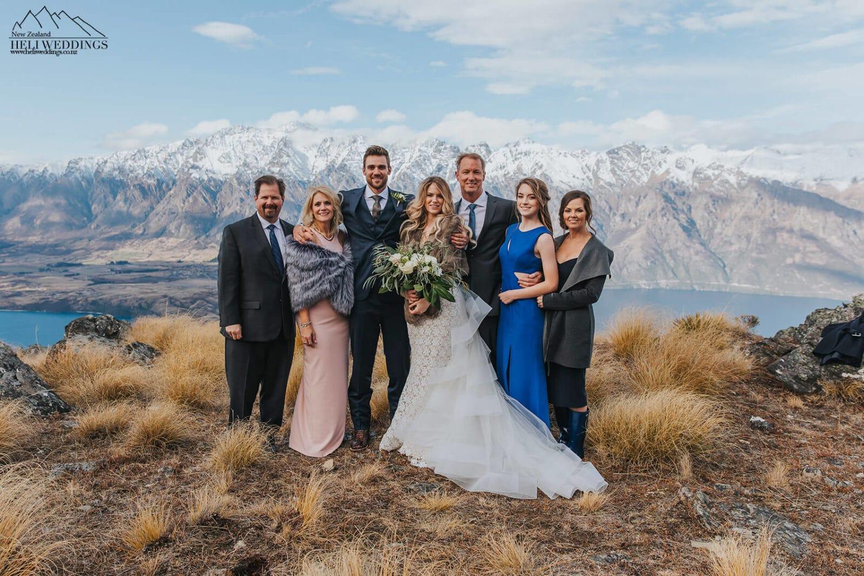 Family photos in the mountain at wedding