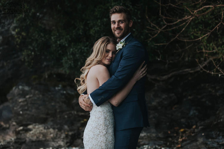 Bride and groom at Queenstown Wedding