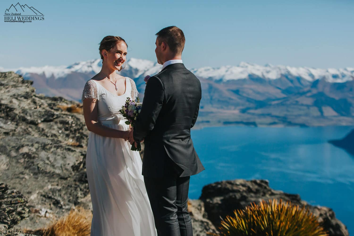 Heli wedding ceremony on The Ledge in Queenstown