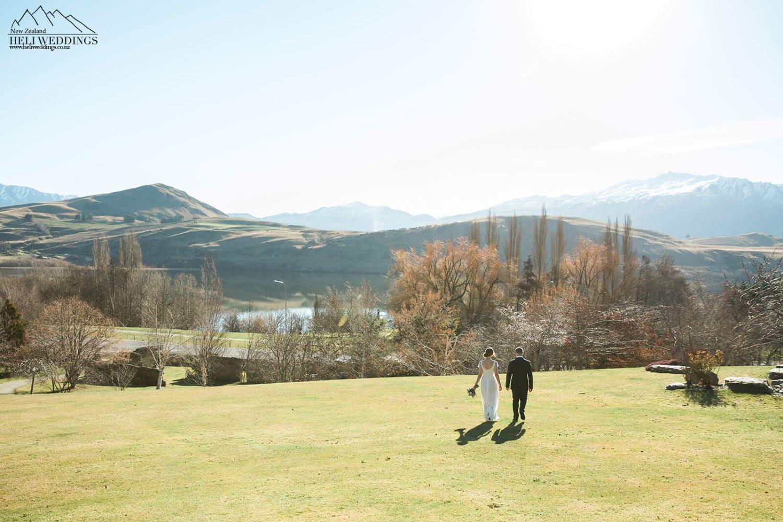 Bride and groom at Stoneridge Estate Queenstown