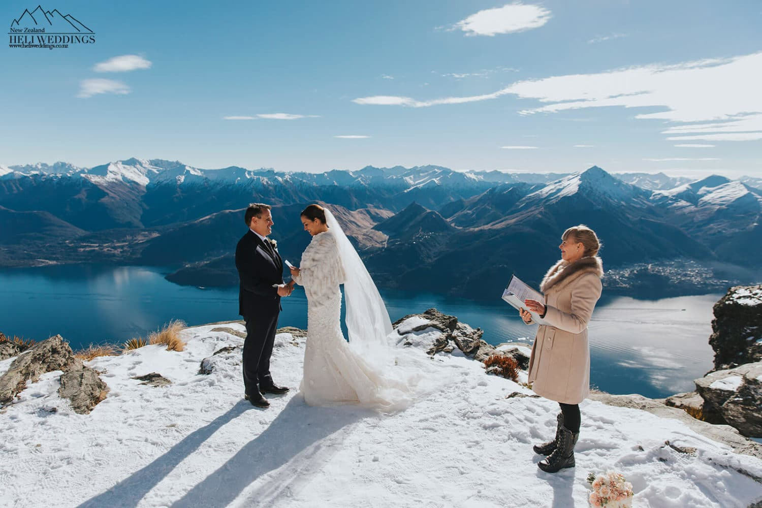 Winter wedding ceremony in the snow