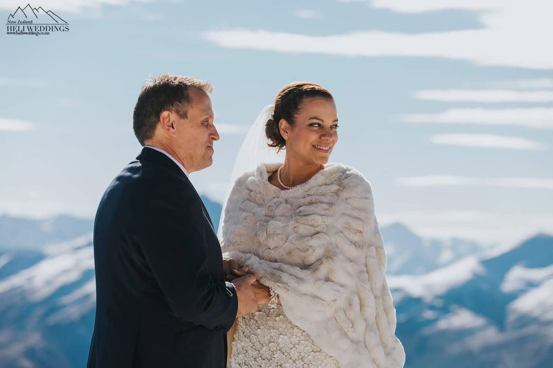 Winter wedding ceremony in the snow