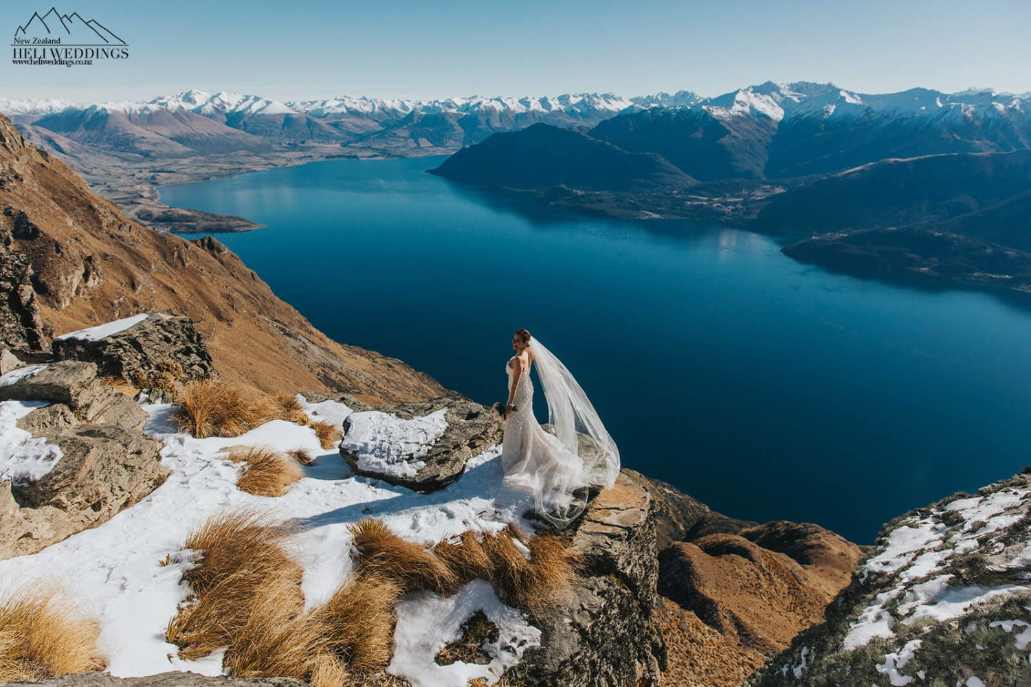 Bride on cliff in New Zealand