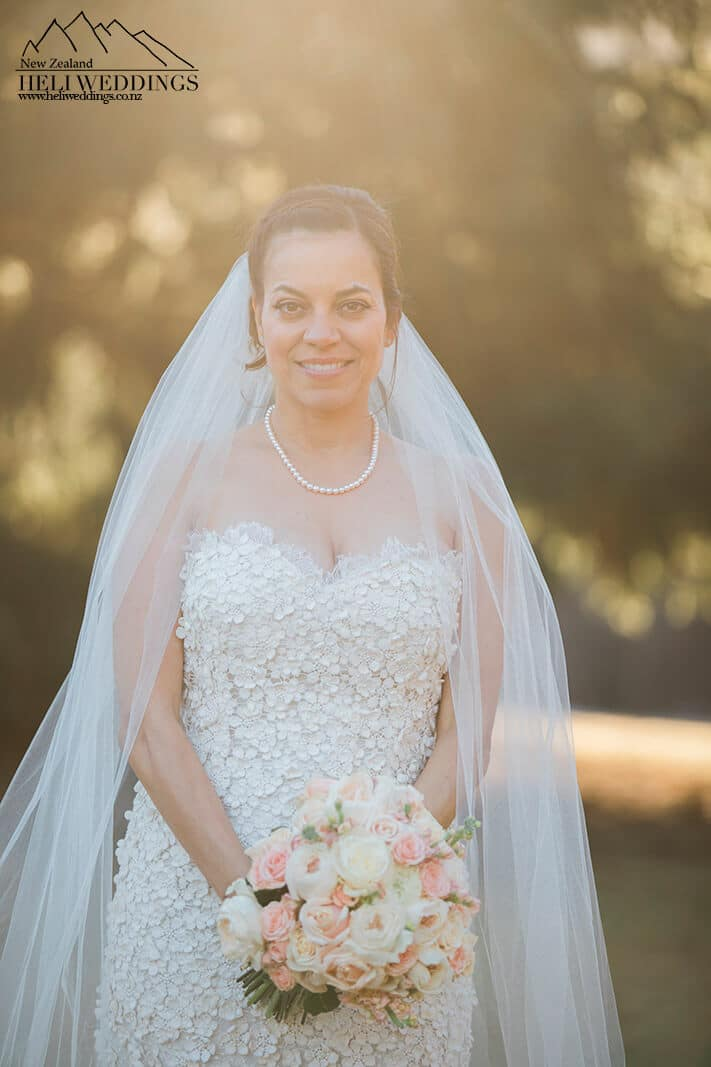 Bride with veil in Arrowtown New Zealand