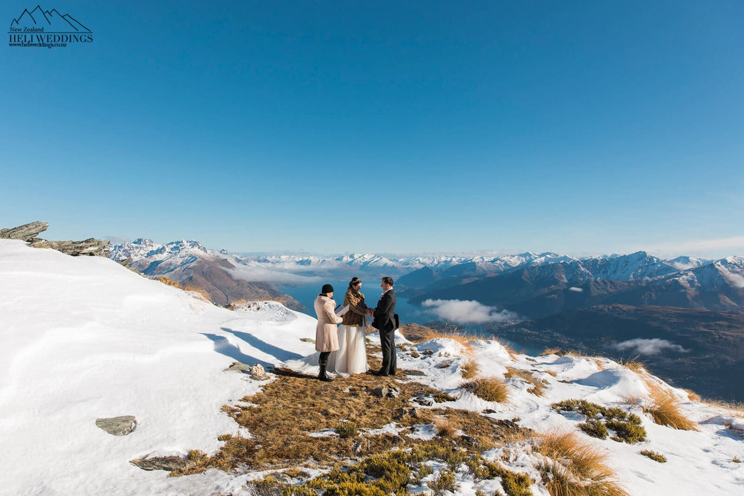Winter wedding ceremony on The Remarkables