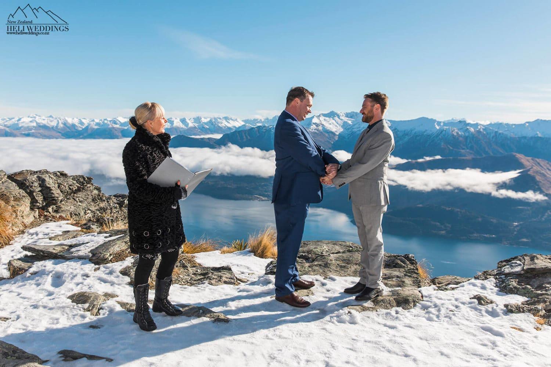 Winter Wedding,Queenstown same sex heli wedding , samesex destination wedding