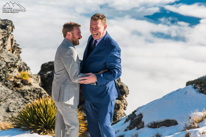 samesex Winter Wedding,Queenstown same sex heli wedding , samesex destination wedding