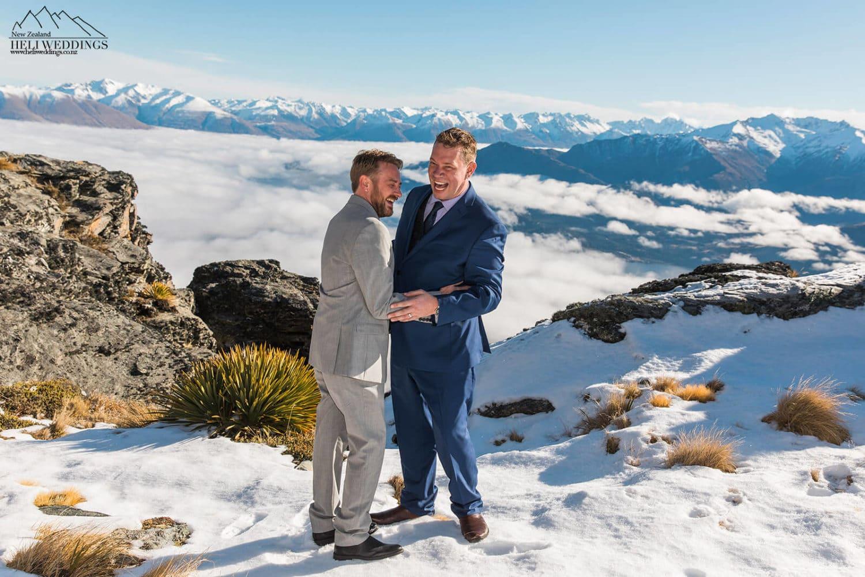 Queenstown same sex heli wedding , samesex destination wedding