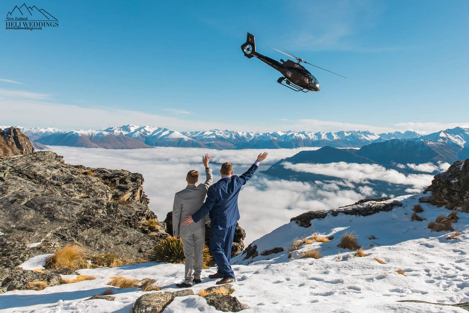 Queenstown same sex heli wedding , samesex destination wedding