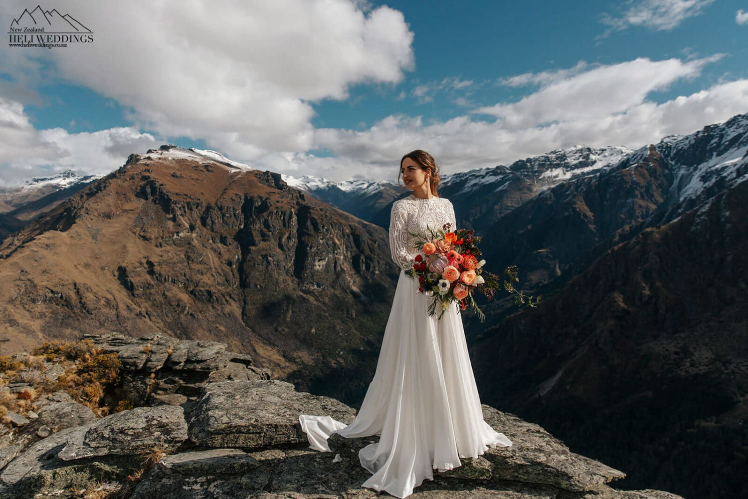 beautiful bride on the mountain
