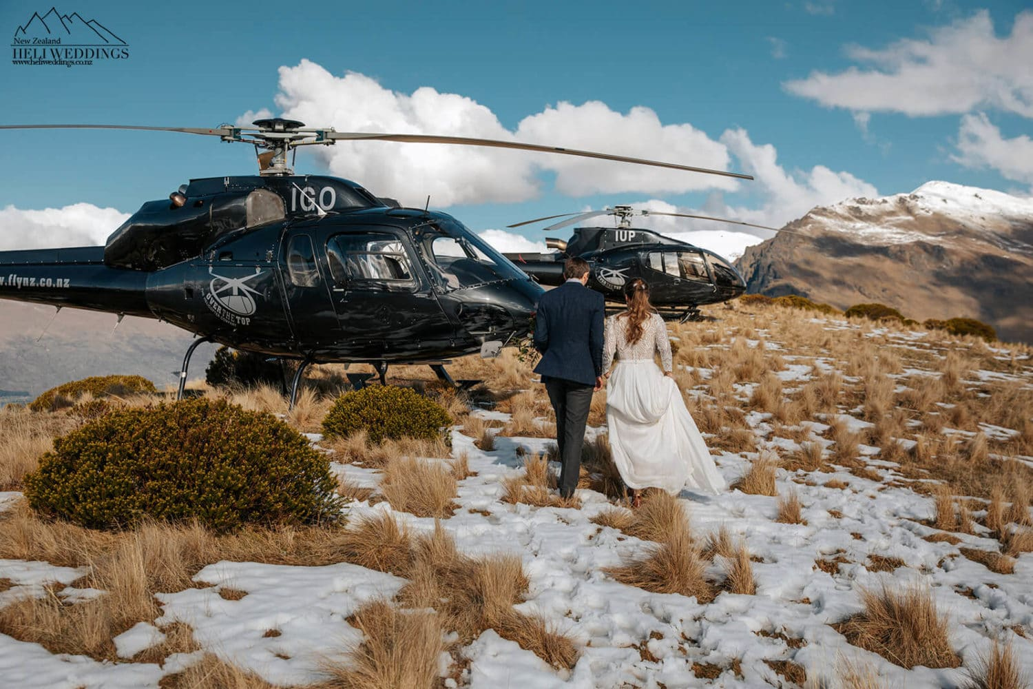 Walking to the helicopters at Queenstown wedding