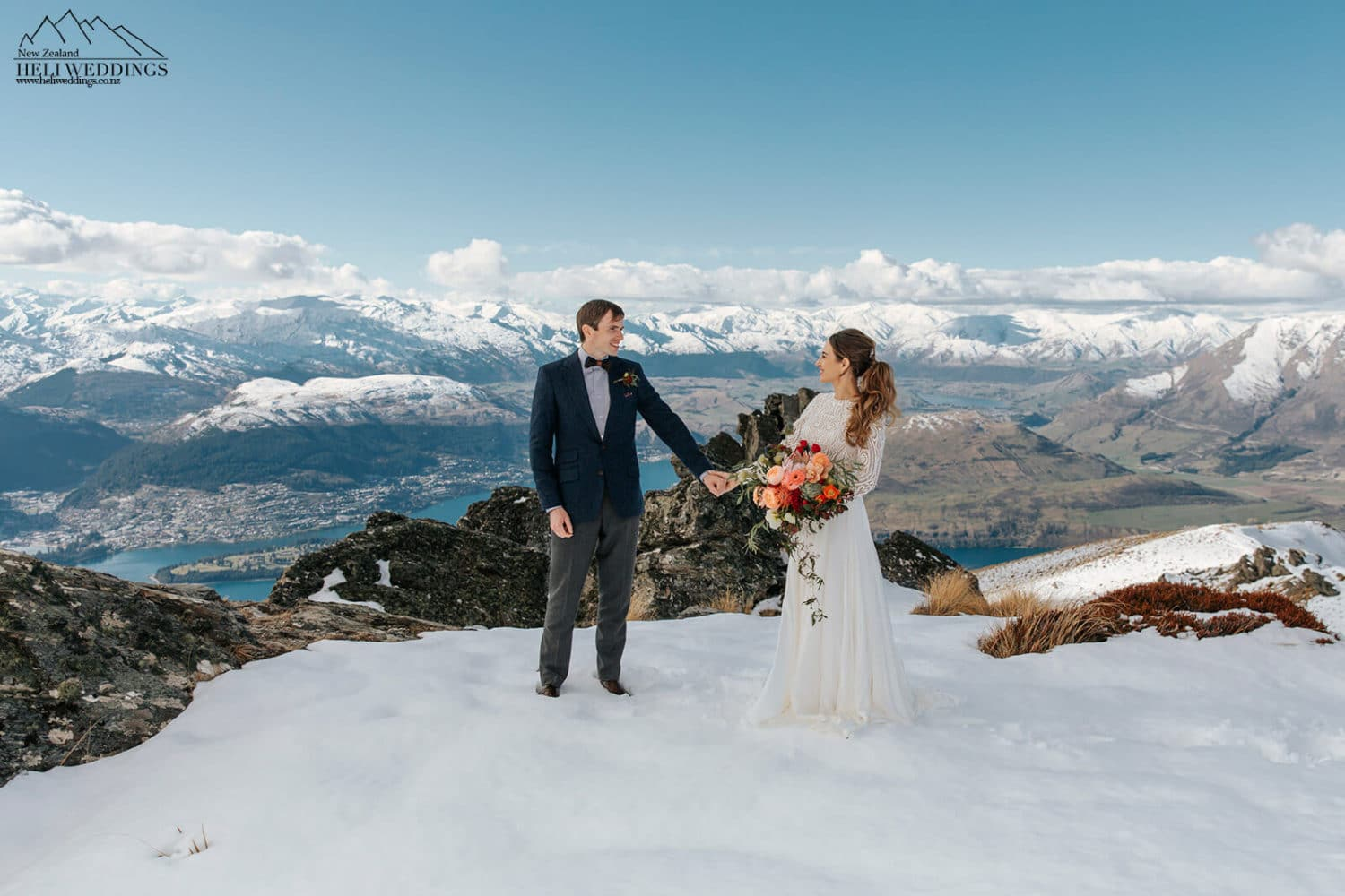 Elopement wedding in the snow above Queenstown