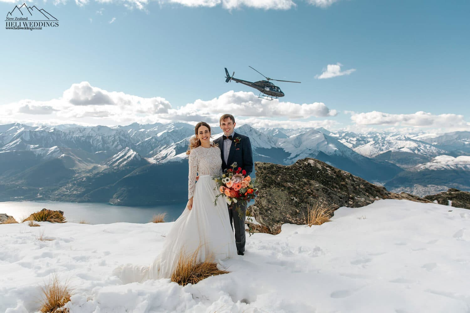 Queenstown Helicopter wedding in the snow with helicopter in the background