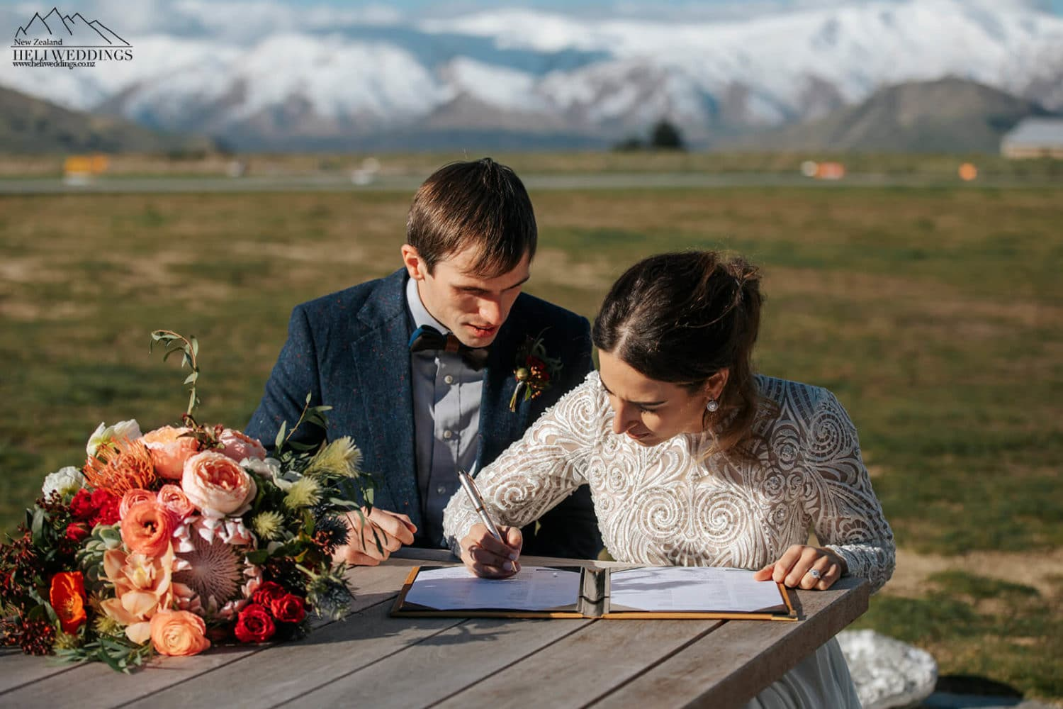 Signing the wedding licence in Queenstown