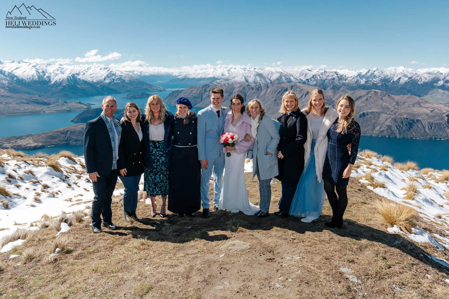 Wedding photography of family and guest at Coromandel Peak, Mt Roy Wanaka