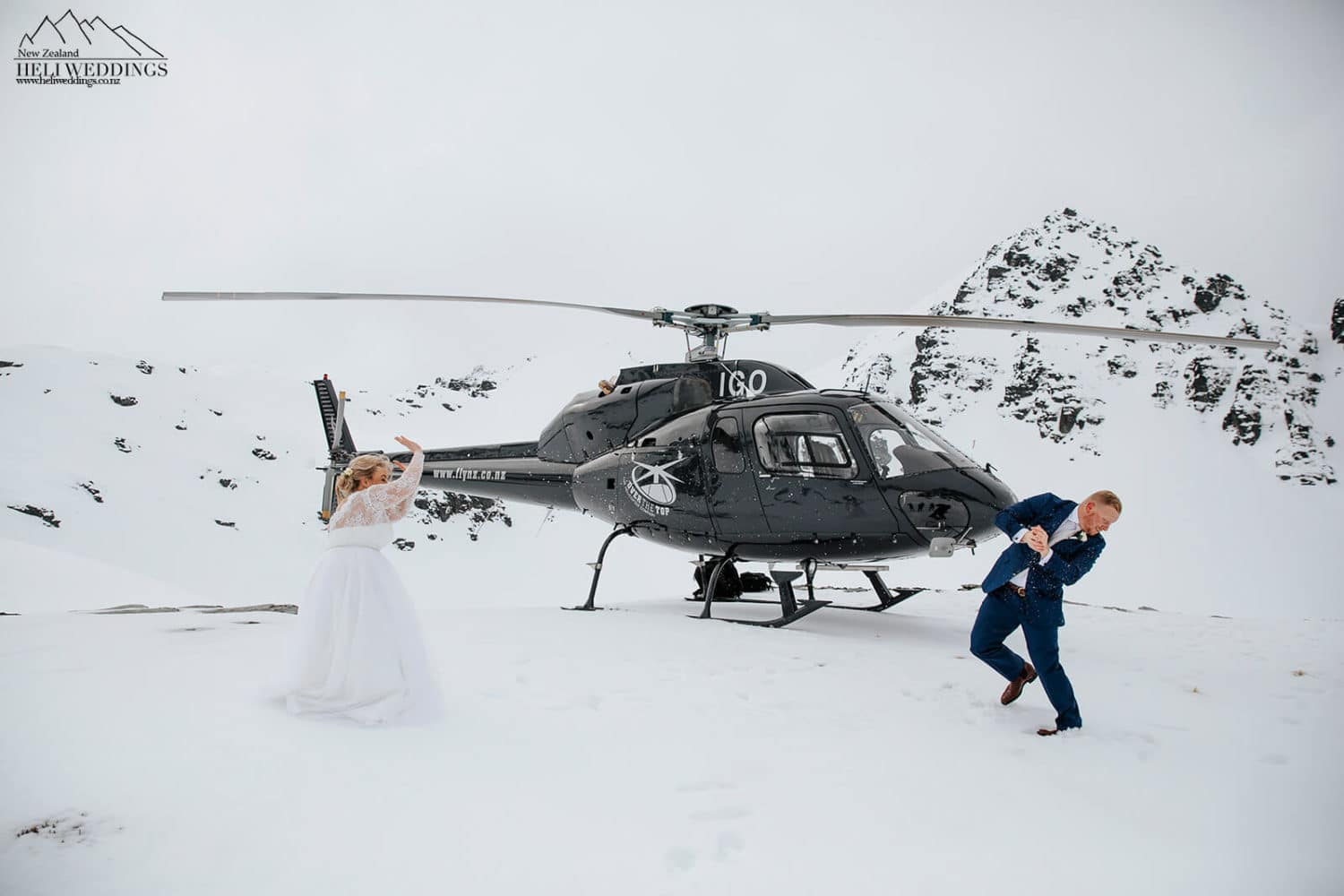 Snowball fight on your wedding day