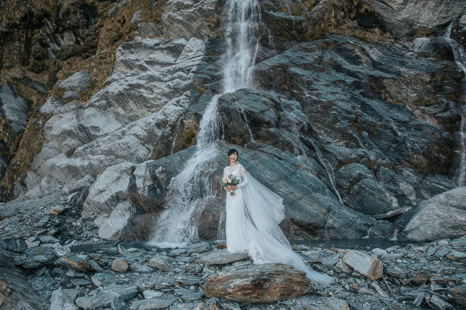 Waterfall wedding photos at Lochnagar Queenstown