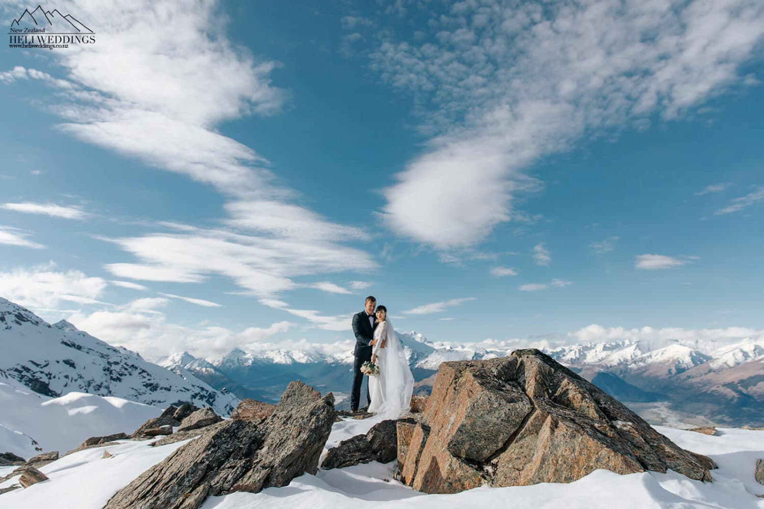 Snowy wedding photos at Glacier burn Queenstown