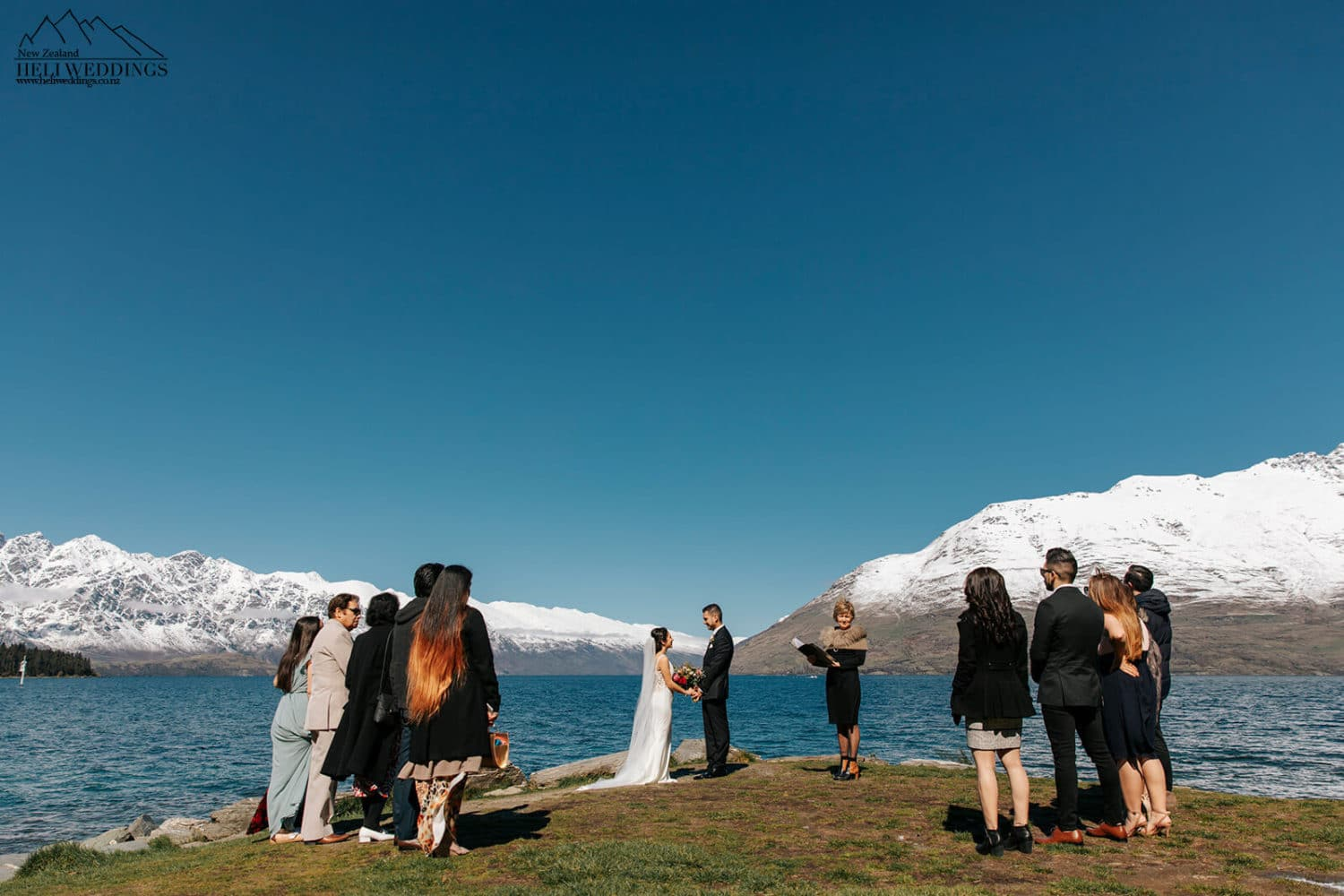 Wedding ceremony by the lake in Queenstown