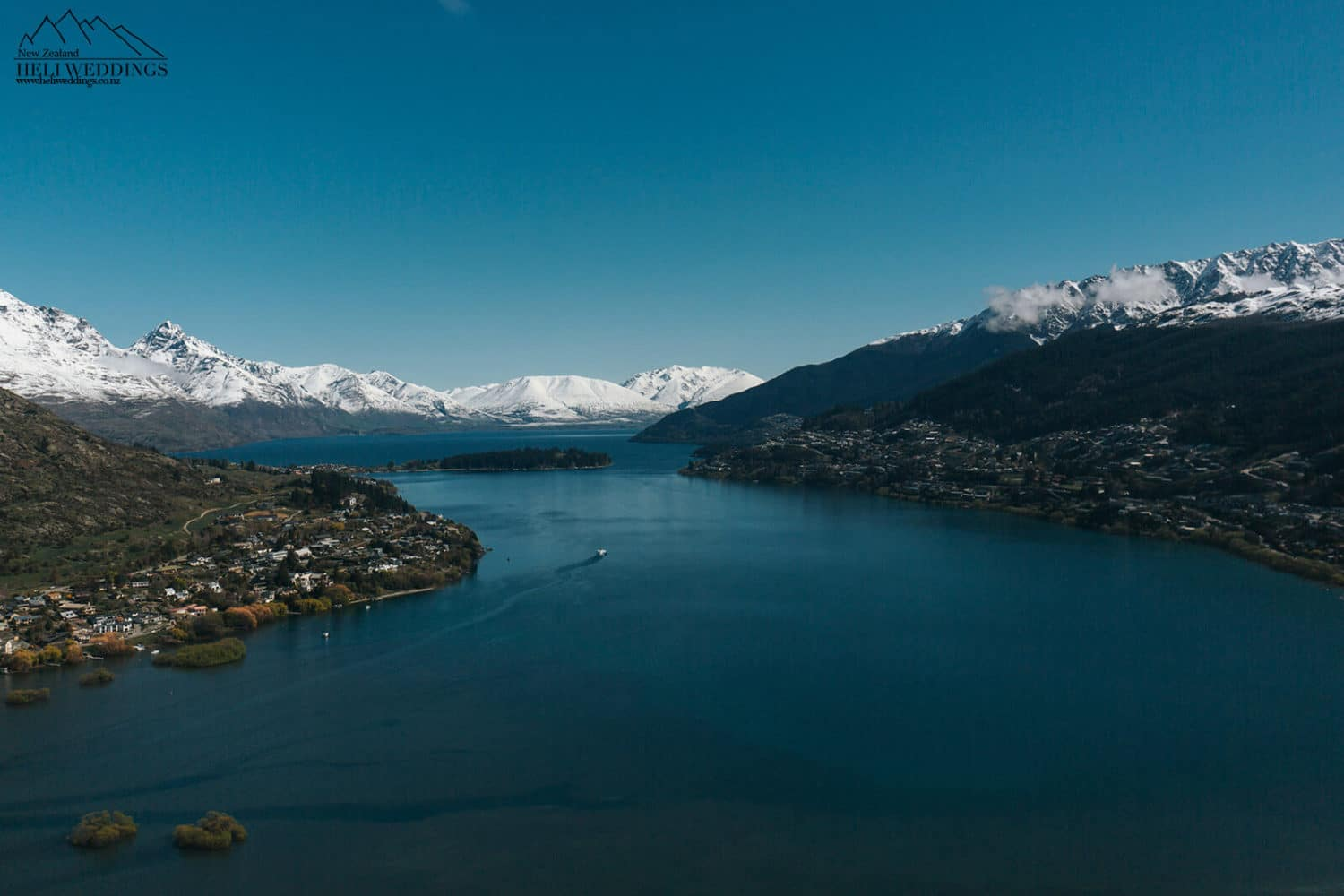 Flying out over the lake in Queenstown