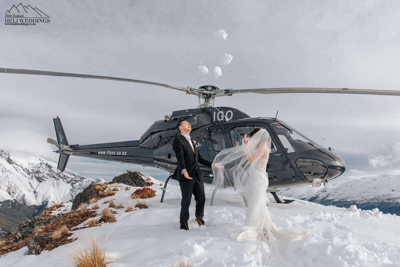 Snowy wedding in Queenstown