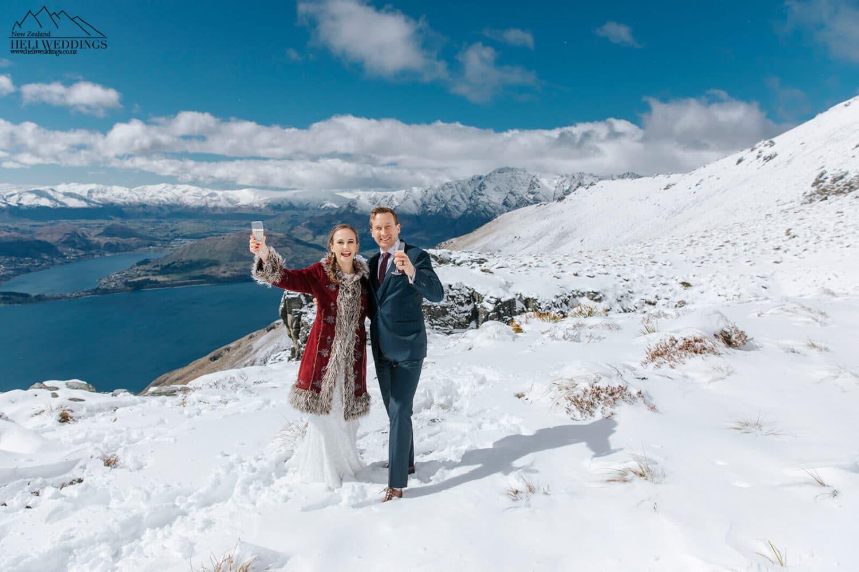 Queenstown elopement wedding ceremony in the snow