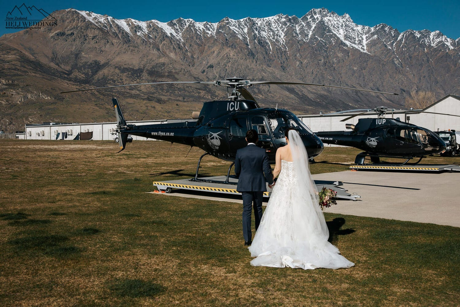 Walking to the helicopter in Queenstown