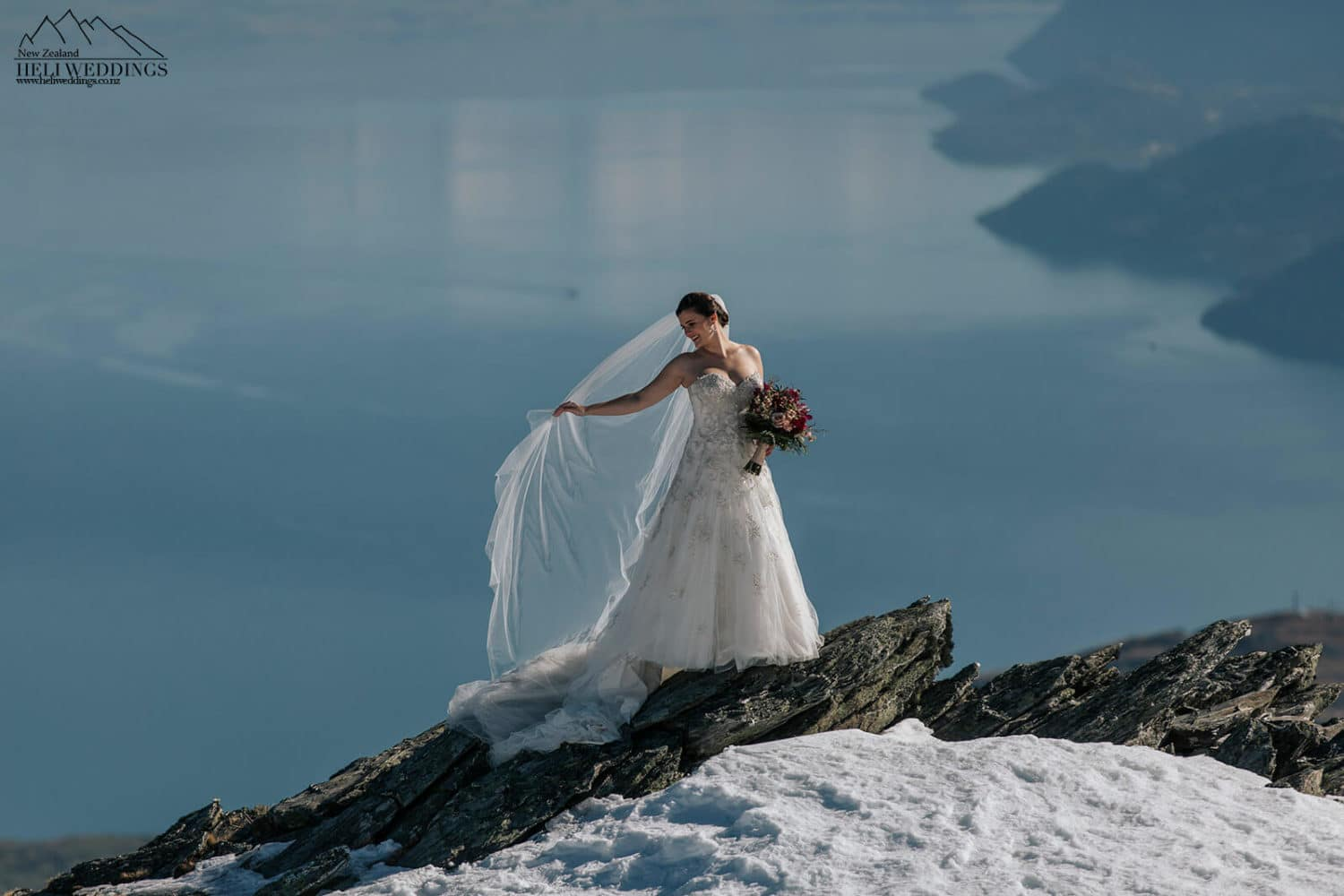 Bride in the snow on the Remarkables