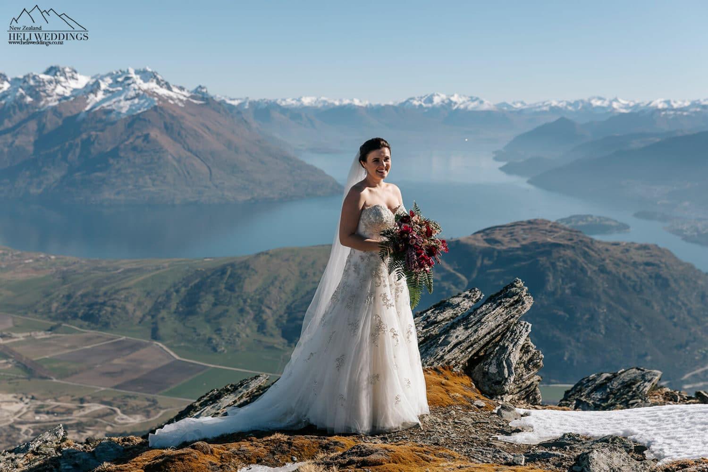 Bride on Remarkables in Queenstown