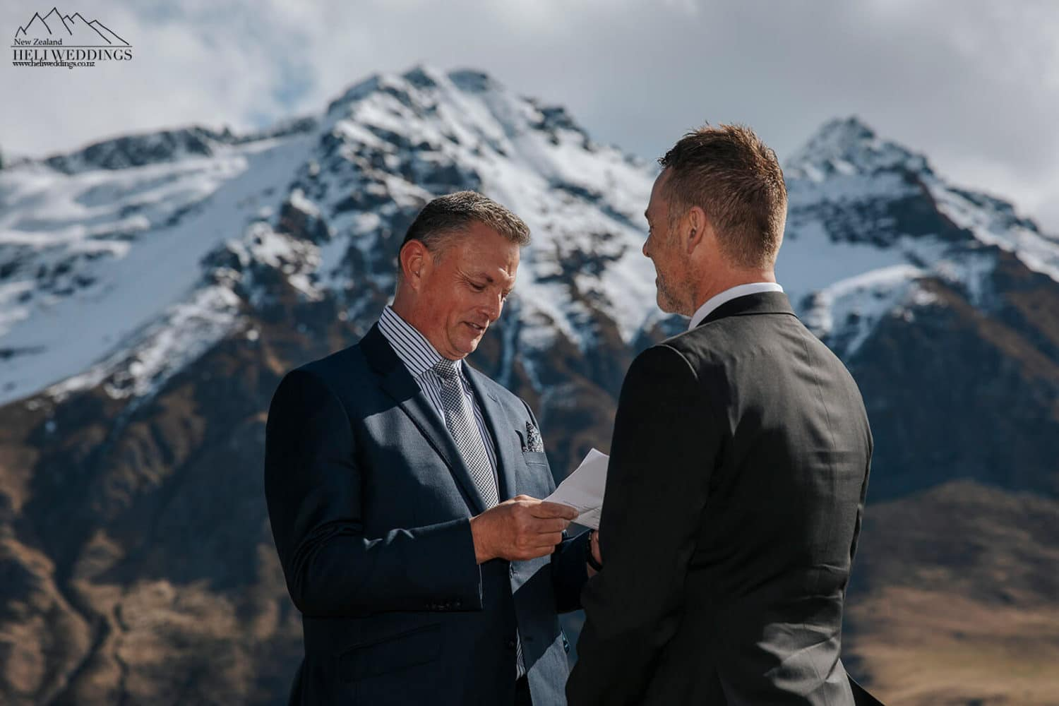 Same sex wedding ceremony in the mountains above Queenstown
