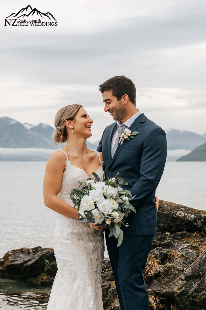 Winter wedding by the lake in Queenstown