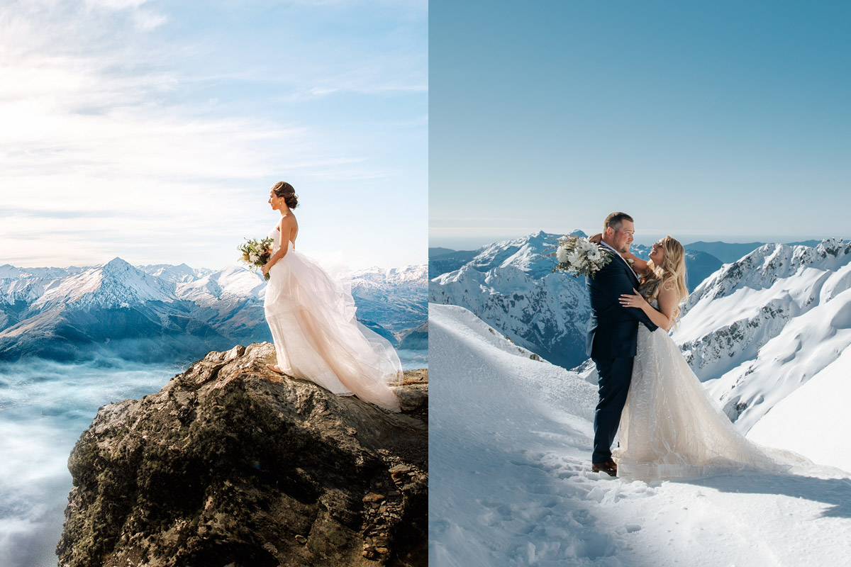 Glacier and The Ledge Peregrine Peak Heli Wedding package in Queenstown New Zealand