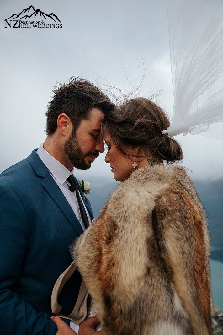 Rainy and moody Heli Wedding on The Ledge Queenstown New Zealand