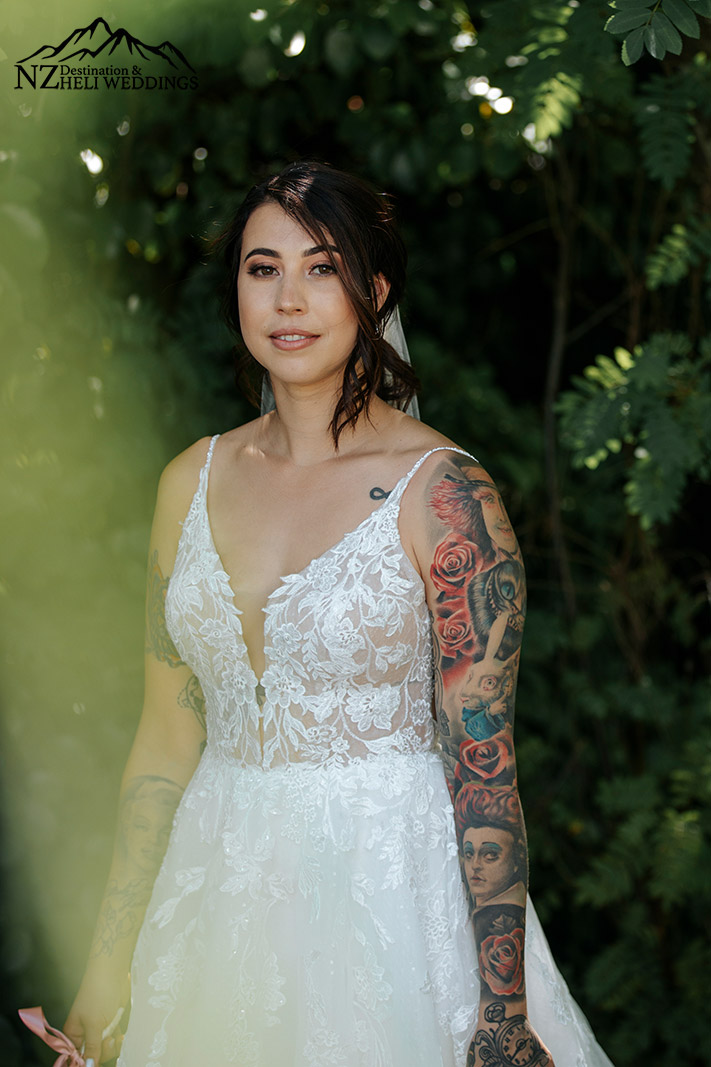 Queenstown destination wedding bride with tattoos