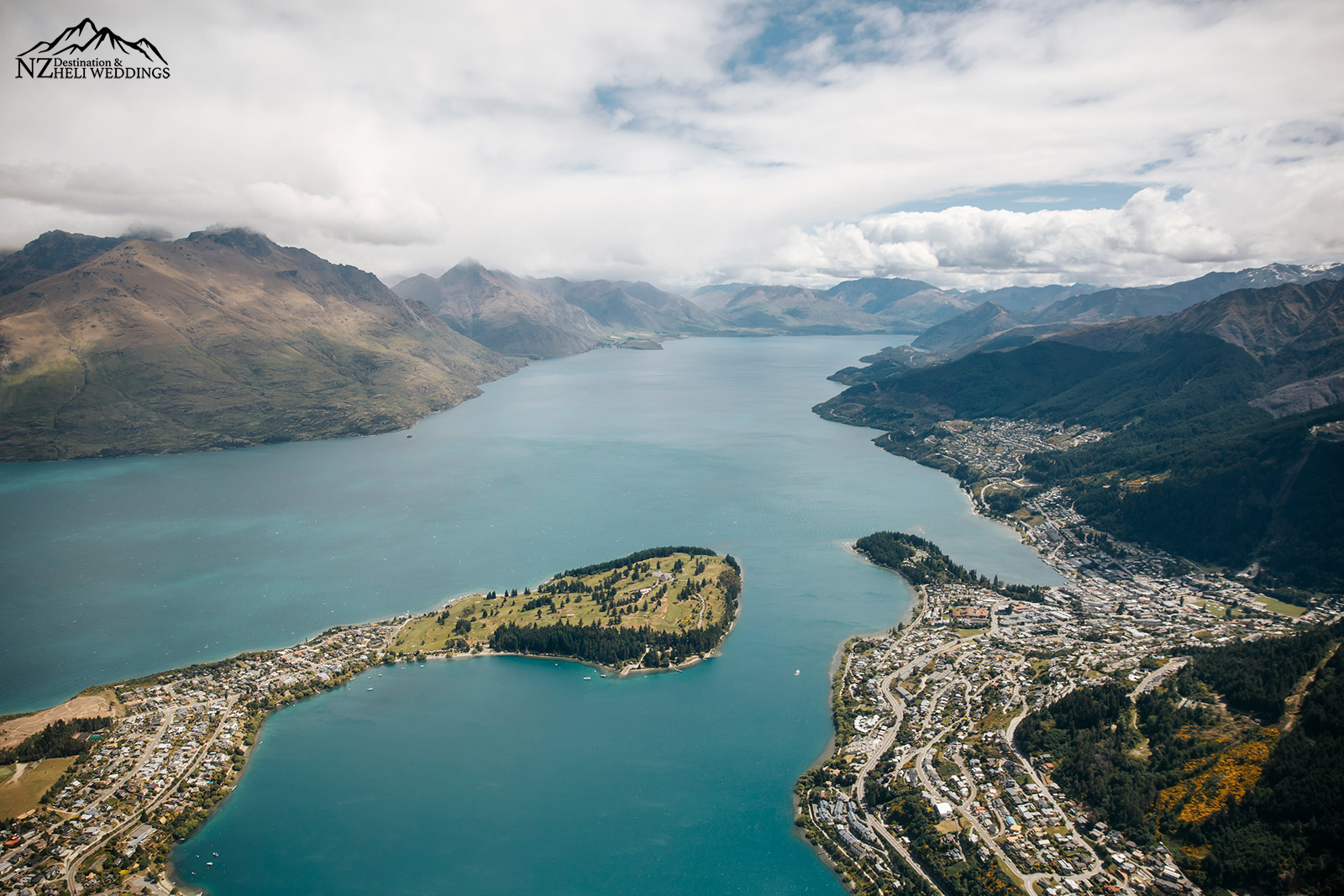Queenstown Elopement wedding ,aerial shot of Queenstown