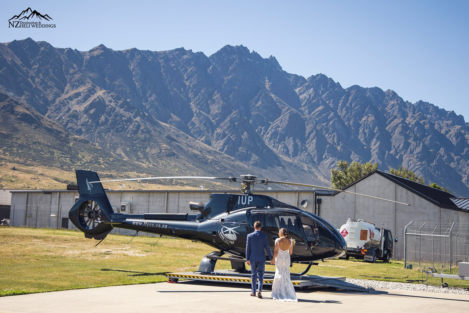 Walking to the helicopter on your wedding day