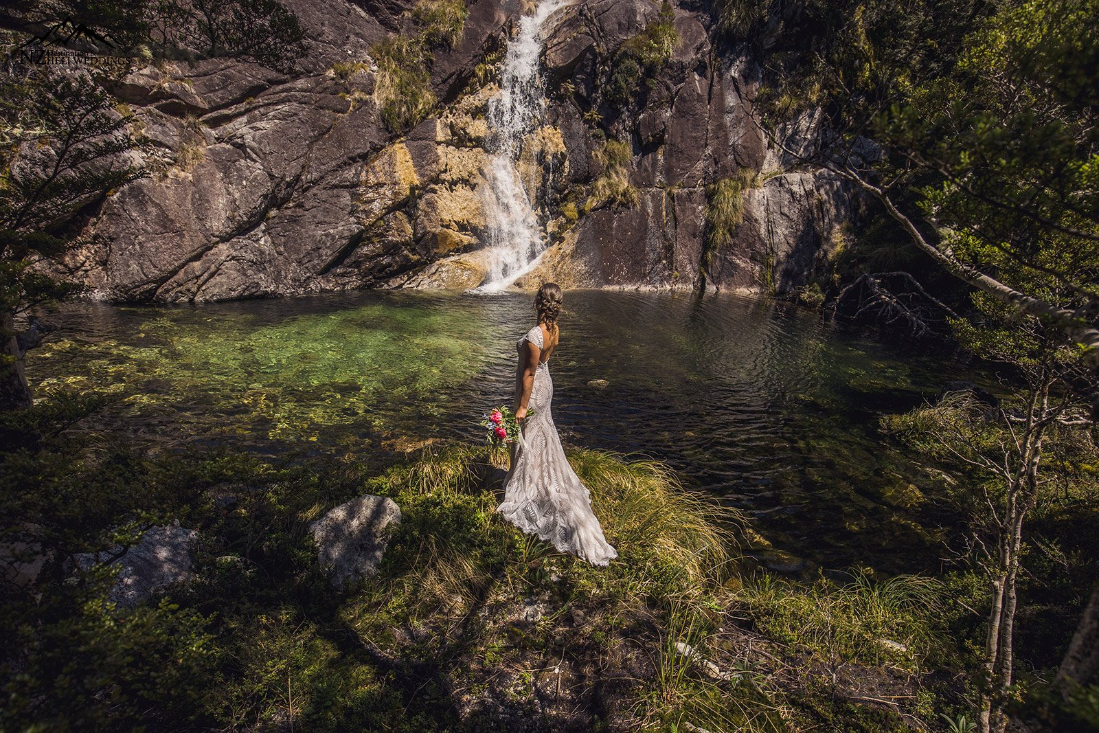Waterfalls on your wedding day New Zealand