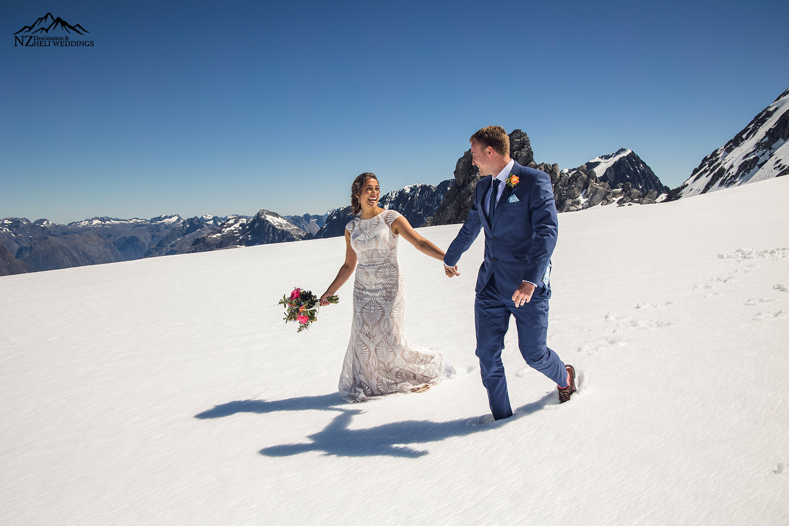 Walking on the glacier on your wedding day in Queenstown