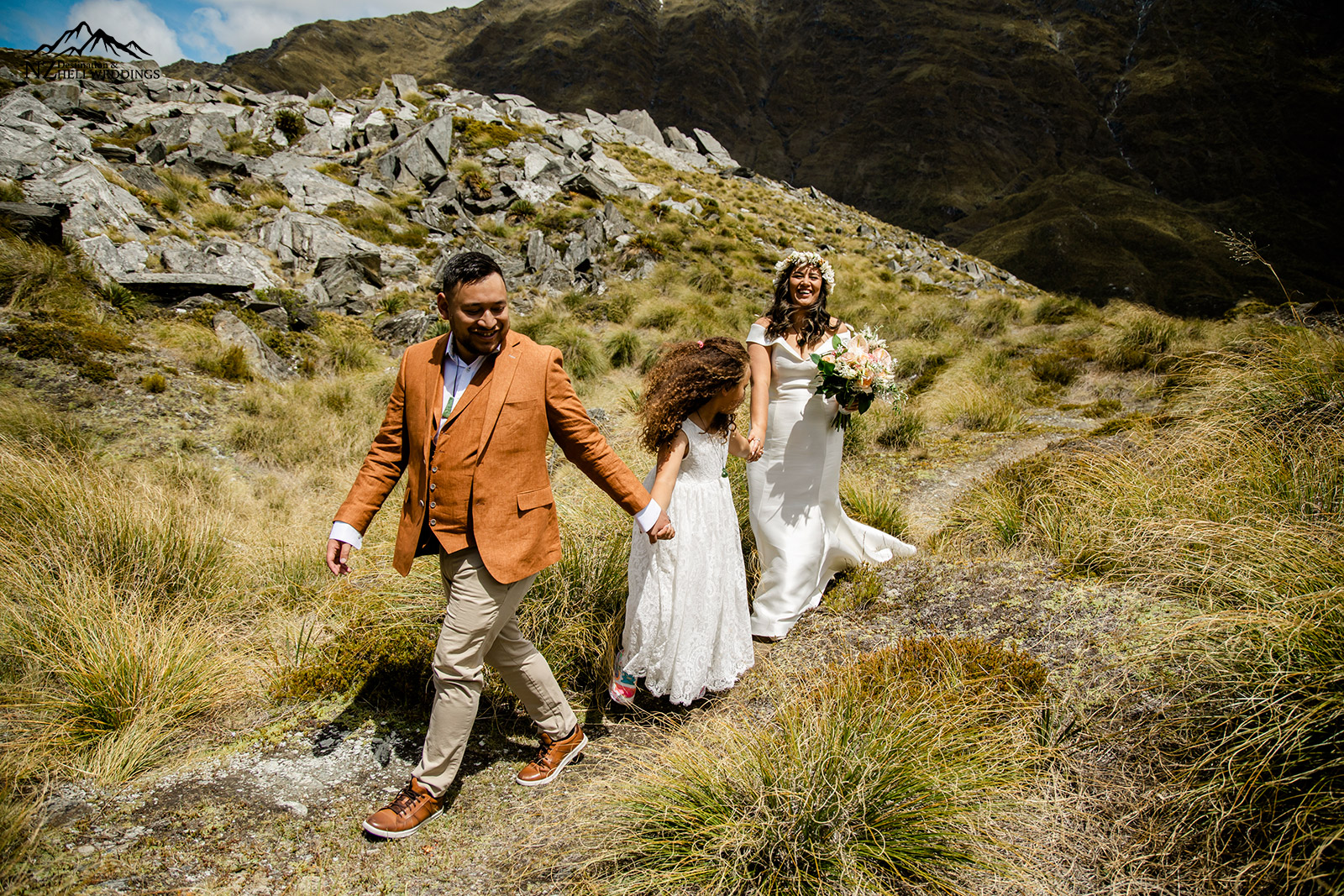 Walking along Lochnagar at Heli Wedding in Queenstown