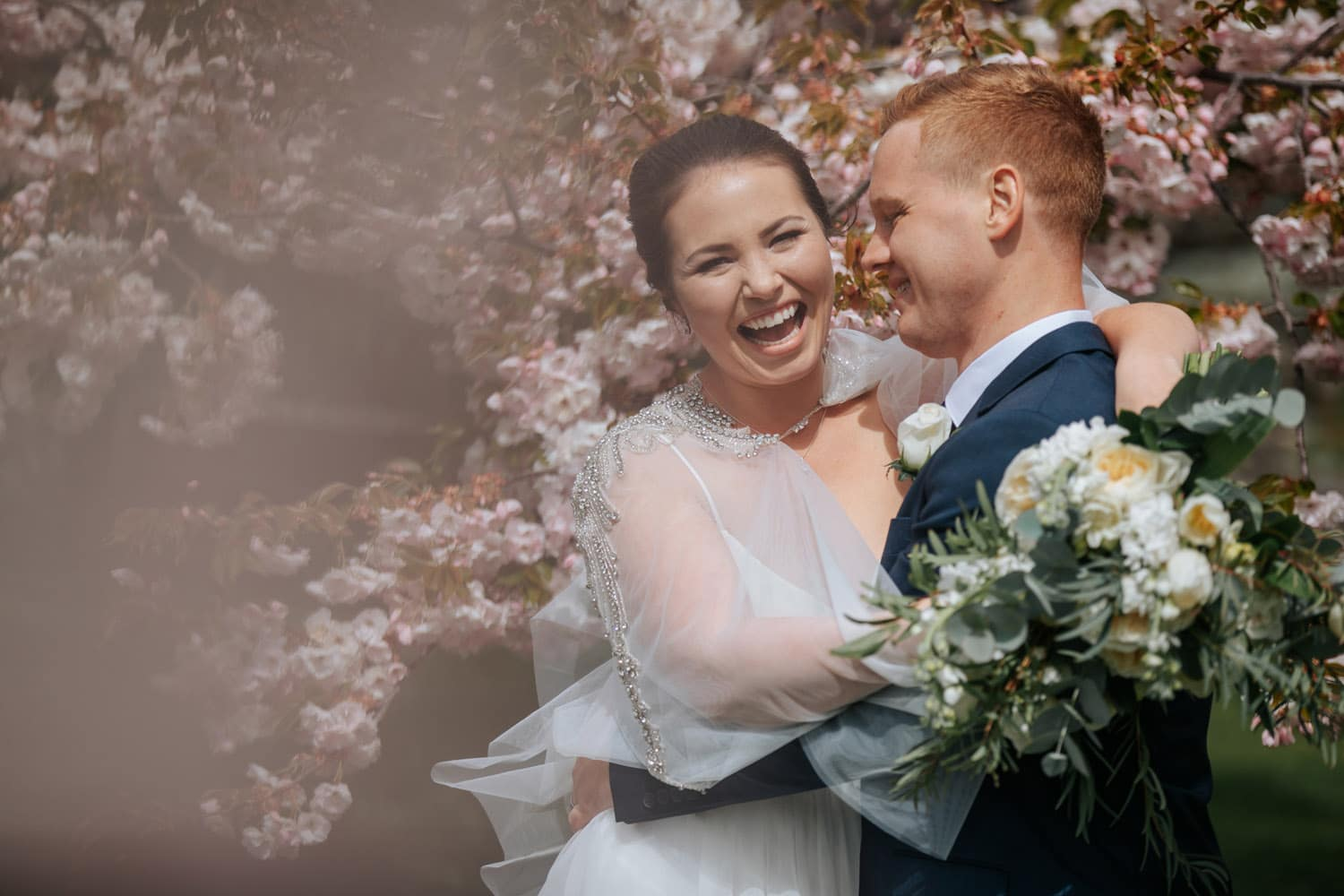 Spring Wedding Queenstown with blossoms