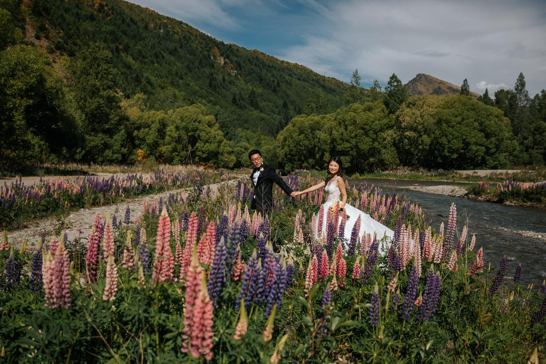 Spring Wedding in Arrowtown with Lupins Queenstown NZ
