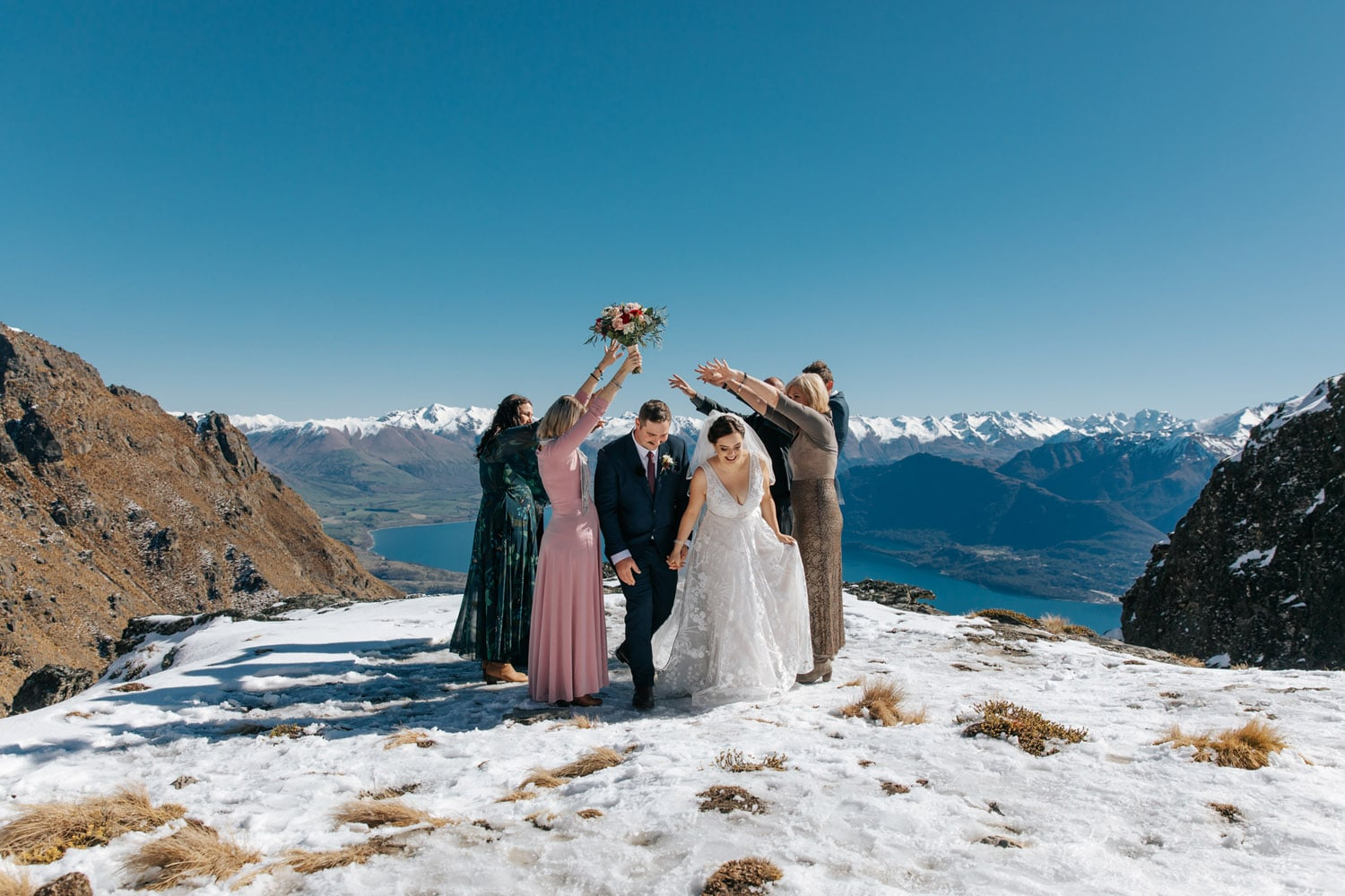 Winter Wedding with guests on The Ledge Queenstown